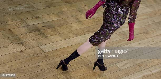 A model presents an outfit by designer Nicole Farhi as part of the Autumn/Winter 2009 collections on the third day of the London Fashion Week at the...