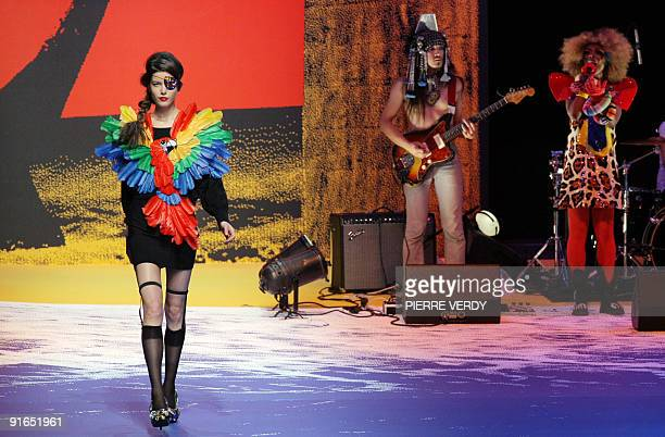 A model presents an outfit by French designer JeanCharles de Castelbajac during readytowear SpringSummer 2010 fashion show on October 6 2009 in Paris...