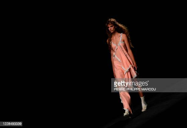Model presents an outfit by Spanish designer Rober Rodriguez' Spring/Summer 2021 collection during the Samsung Ego Mercedes Benz Fashion Week in...