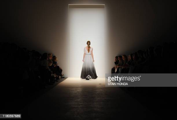 Model presents an outfit during the Lela Rose fashion show February 13, 2011 at Mercedes Benz Fashion Week in New York. AFP PHOTO/Stan HONDA