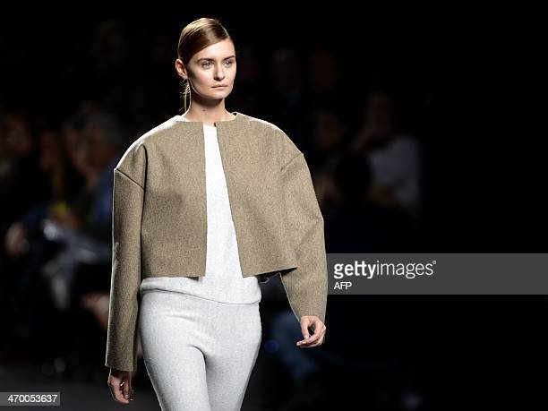 A model presents Autumn/Winter 20142015 collection creations by Howl on the last day of Madrid Fashion Week in Madrid on February 18 2014 AFP PHOTO /...
