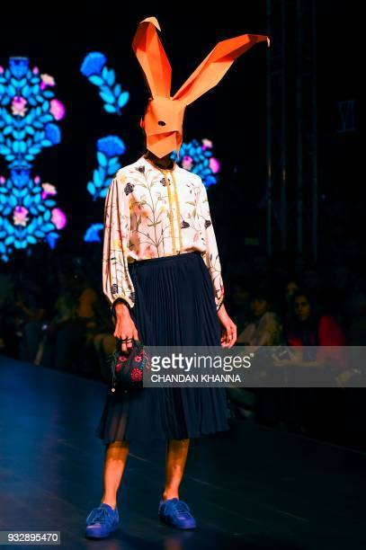 A model presents creation by Indian designer Nida Mahmood during the Amazon India Fashion Week Autumn Winter 2018 in New Delhi on March 16 2018 / AFP...