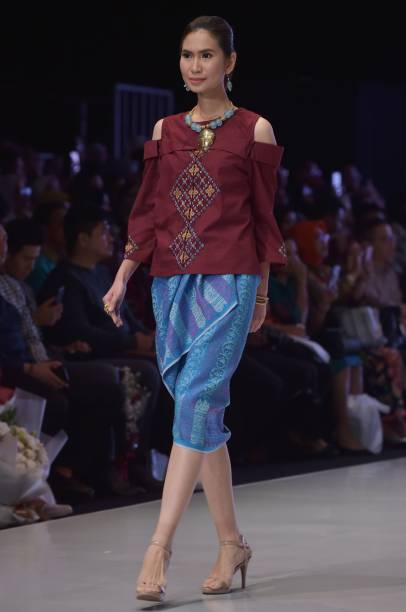 A model presents creations by designer yurita puji during the a model presents creations by designer yurita puji during the indonesia fashion week in jakarta on stopboris Images