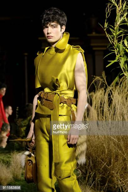 A model presents creations of Palomo Spain during the last day of the MercedesBenz Fashion Week Madrid in Madrid Spain 28 January 2018