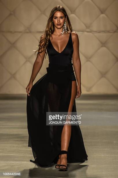 A model presents creations of the brand Ann Chery during Colombiamoda as part of Colombia's Fashion Week in Medellin Antioquia department Colombia on...