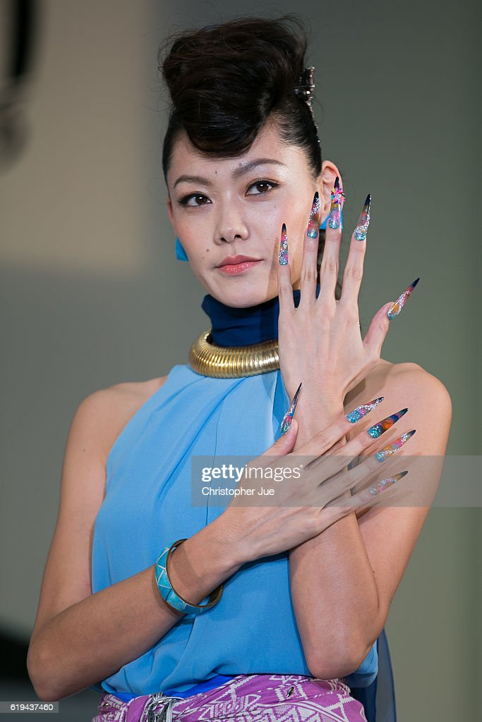 A model presents custom nail art during the Tokyo Nail Expo on October 31, 2016 in Tokyo, Japan. According to the organiser, approximately 50,000 people visited this 'largest nail expo in the world' held on October 30th and 31st.