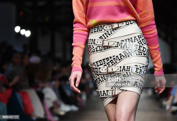 A model presents fashion of the label 'Marina Hoermanseder' during the Fashion Week in Berlin on January 18 2018 / AFP PHOTO / dpa / Jens Kalaene /...