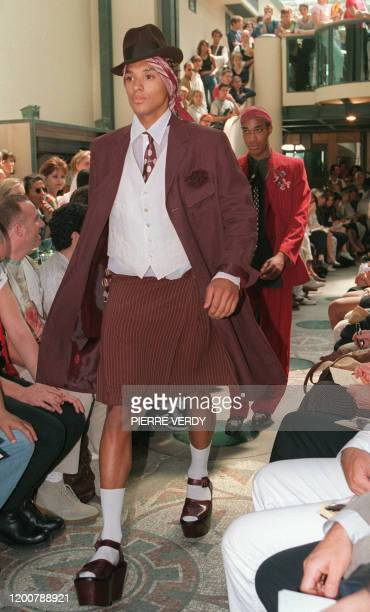 Model presents the collection by French designer Jean-Paul Gaultier, 02 July 1994, in Paris, during the 95 Autumn/Winter men's ready-to-wear show....