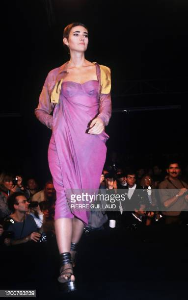 Model presents the collection by French designer Jean-Paul Gaultier, 28 January 1995 in Paris, at the 1984 Spring/Summer ready-to-wear collections....
