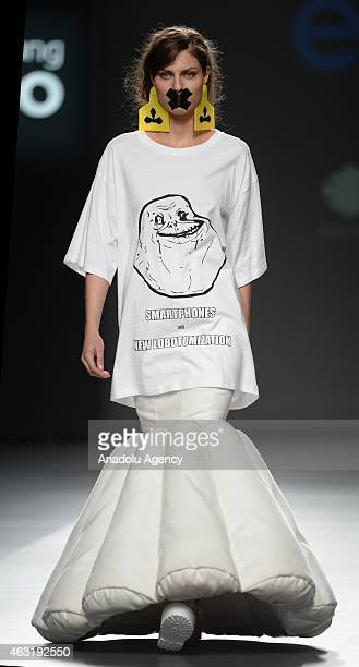 A model presents the creation of Maria Magdalena during the Mercedes Benz Fashion Week Madrid at IFEMA on February 11 2015 in Madrid Spain