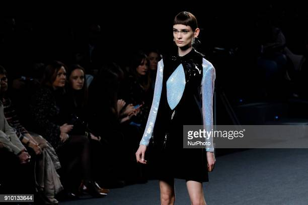 A model presents the creations of Maria Escote during a fashion show at the IFEMA as part of the 67th MercedesBenz Fashion Week Madrid in Madrid...