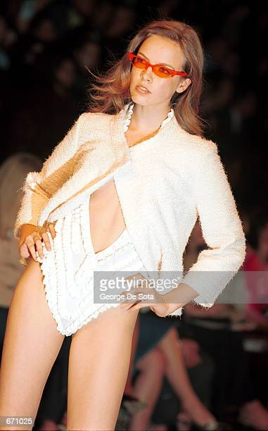 A model presents the Cynthia Rowley Spring 2001 collection in women's fashion during the 7th On Sixth fashion show September 21 2000 in New York City