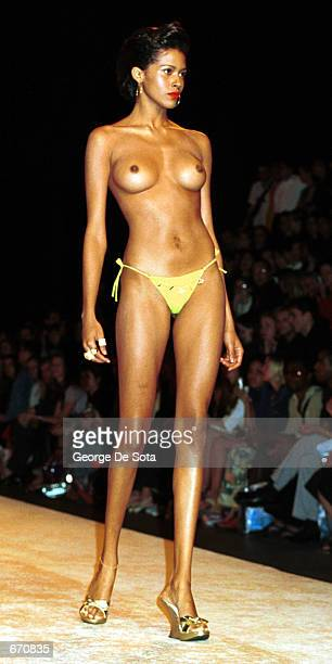A model presents the Rosa Cha Spring 2001 collection in women's fashion during the '7th On Sixth' fashion show September 21 2000 in New York City