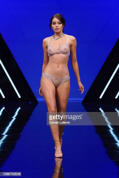 Model presents underwear creation during The Selection Show at Salon International De La Lingerie 2019 at Parc des Expositions Porte de Versailles on...
