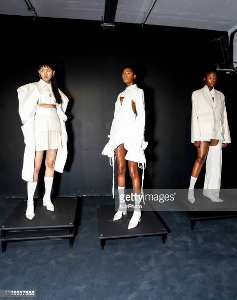 A model presents Westley Harriott collection during London Fashion Week February 2019 at the BFC Show Space on February 18 2019 in London England