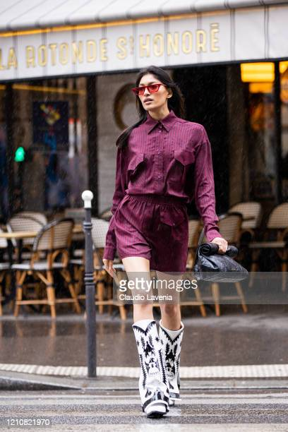 Model Pritika Swarup, wearing Filles A Papa shirt and shorts, is seen on March 01, 2020 in Paris, France.