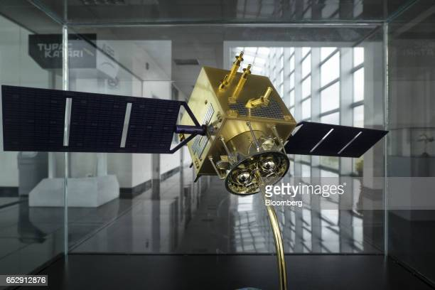 Model prototype of a communication satellite stands on display at the Bolivian Space Agency Amachuma Ground Station in Achocalla La Paz Department...