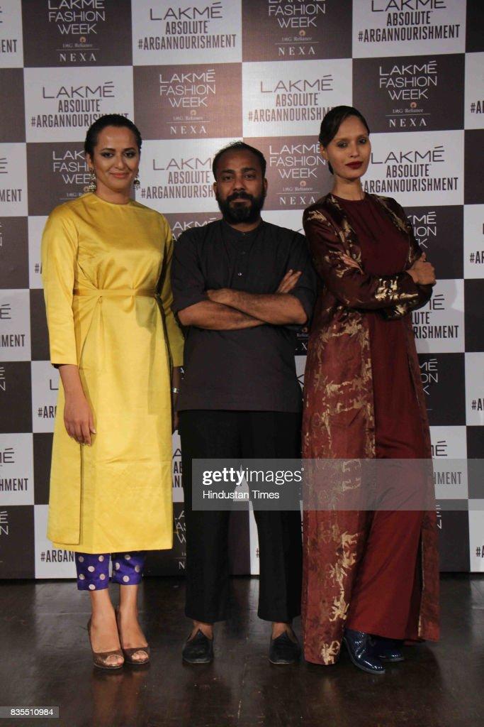 Model Purnima Lamba, Fashion Designer Sanjay Garg and model Ujjwala Raut during the closing show of the opening day of Lakme Fashion Week 2017, at Royal Opera House, on August 16, 2017 in Mumbai, India.
