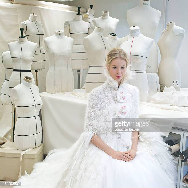 Model Quirine Engel poses for Town Country Wedding Magazine wearing the wedding dress of the year by Chanel Haute Couture on November 21 2012 in...