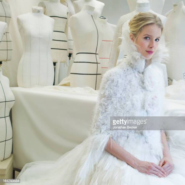 Model Quirine Engel poses for Town & Country Wedding Magazine wearing the wedding dress of the year by Chanel Haute Couture on November 21, 2012 in...