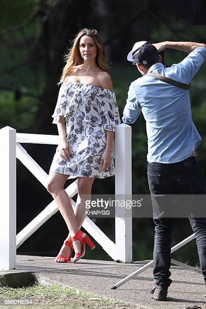 Model Rachael Finch on a fashion photoshoot on August 25 2016 in Sydney Australia