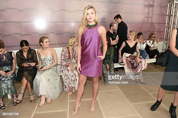 Model Rachel Hilbert attends the Monique Lhuillier fashion show during New York Fashion Week September 2016 at The IAC Building on September 13 2016...