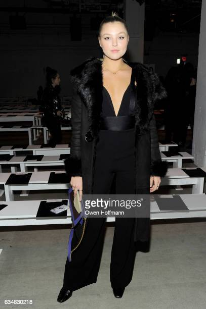 Model Rachel Hilbert attends the Nicole Miller Fall 2017 collection during New York Fashion Week at The Gallery at Skylight Clarkson Sq on February...