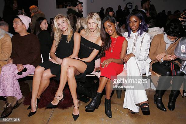 Model Rachel Hilbert model Devon Windsor music video director Vashtie Kola and singer Justine Skye attend the Jonathan Simkhai fashion show during...