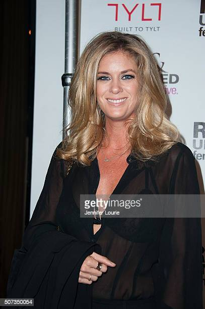Model Rachel Hunter arrives at the launch party for The Feminine Collective Raw And Unfiltered Vol 1 at Palihouse on January 28 2016 in West...