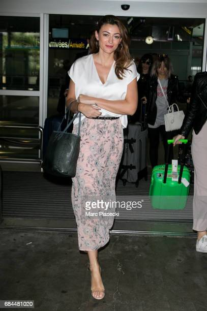 Model Rachel Legrain Trapani arrives at Nice airport during the 70th annual Cannes Film Festival at on May 18 2017 in Cannes France