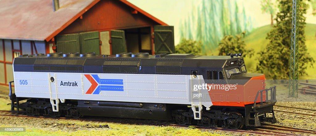 Model Railroad Layout with Amtrak FP-45 locomotive : Stock Photo