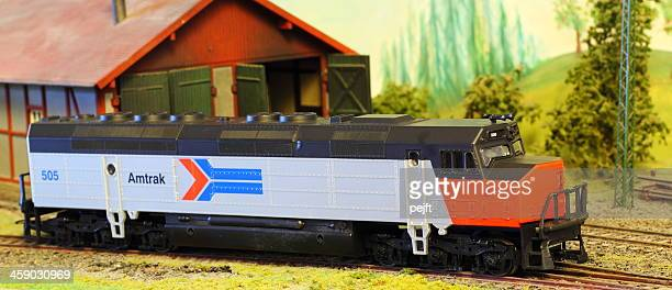 Model Railroad Layout with Amtrak FP-45 locomotive