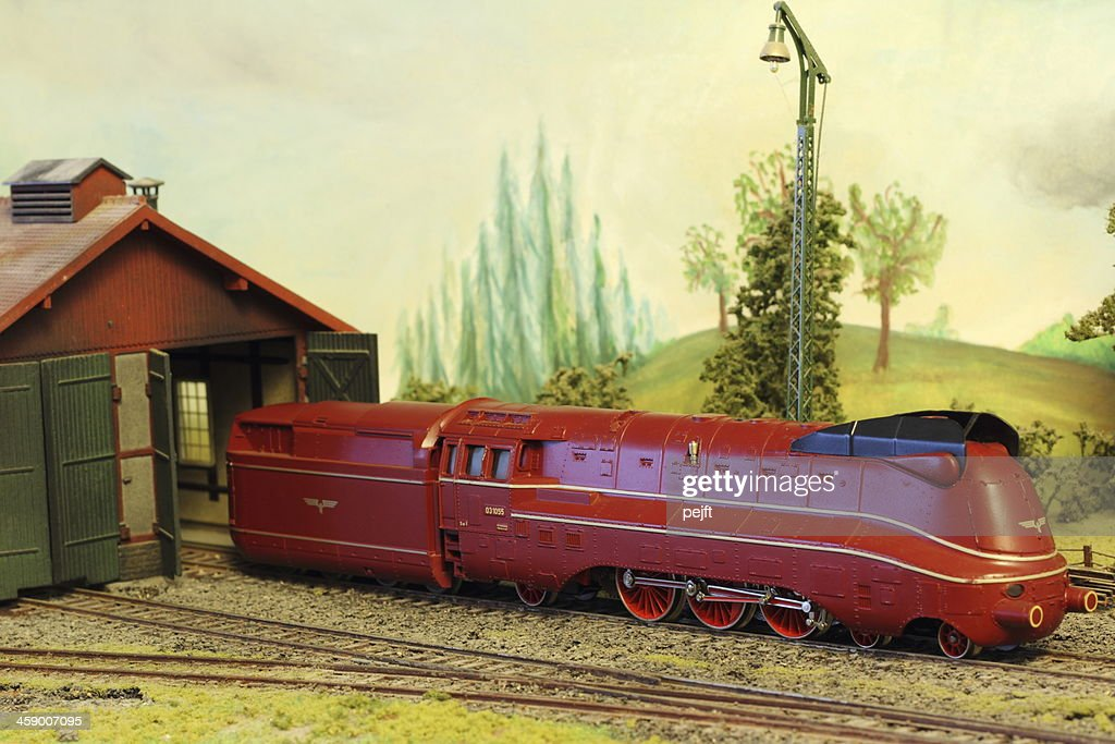 Model Railroad Layout with German BR 03 locomotive : Stock Photo