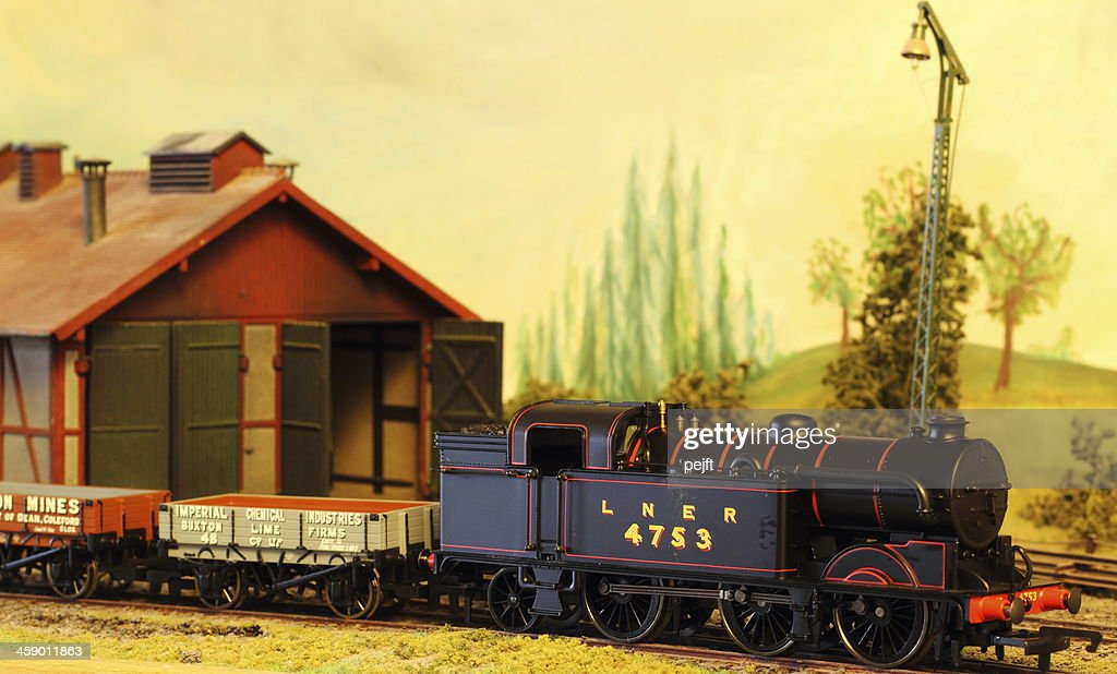 Model Railroad Layout with LNER Steam Locomotive : Stock Photo