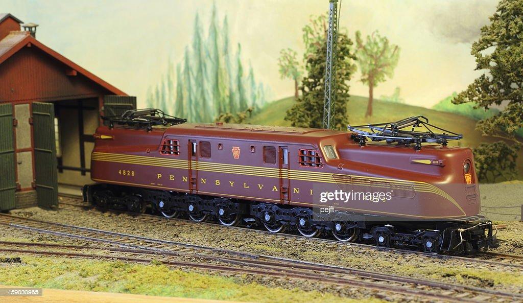 Model Railroad Layout with Pennsylvania GG-1 : Stock Photo