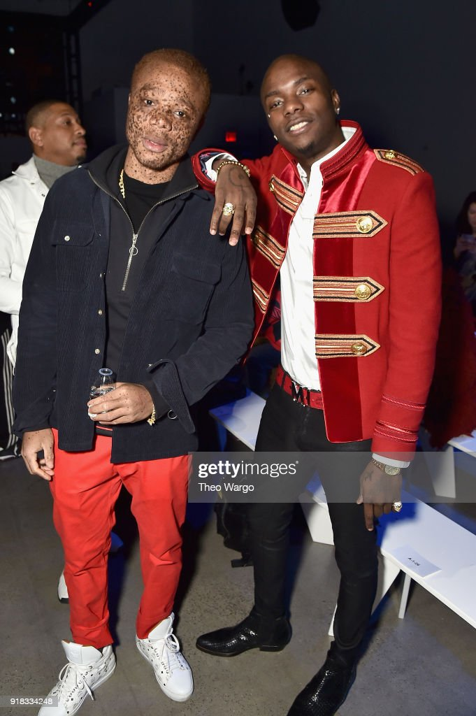 Model Ralph Souffrant (L) and recording artist Young Paris attend the Laquan Smith front row during New York Fashion Week: The Shows at Gallery I at Spring Studios on February 14, 2018 in New York City.