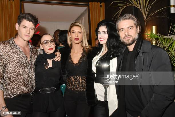 Model Raphael Say Stefanie Renoma Melanie Dedigama Elsa Oesinger and Anthony Dupray attend 'Femmes Fatales ' Mathieu Alterman Book Launch Party at...