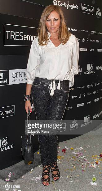Model Raquel Rodriguez attends 'Higly Preppy' fashion show photocall at Cristal Palace on September 7 2015 in Madrid Spain