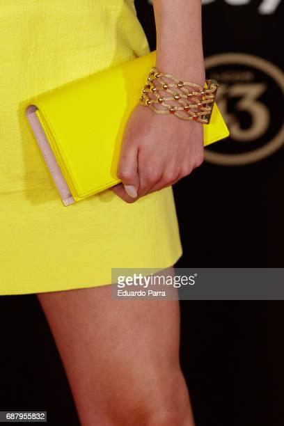 Model Raquel Tejedor handbag detail attends the 'El Jardin del Miguel Angel' party photocall at Miguel Angel hotel on May 24 2017 in Madrid Spain