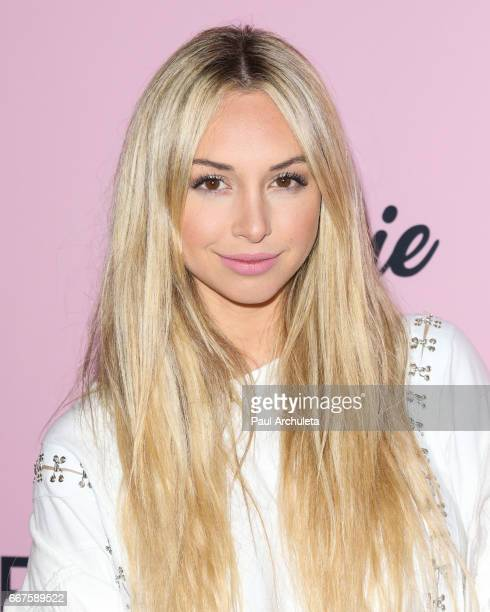 Model / Reality TV Personality Corinne Olympios attends the 'PrettyLittleThing' campaign launch on April 11 2017 in Los Angeles California