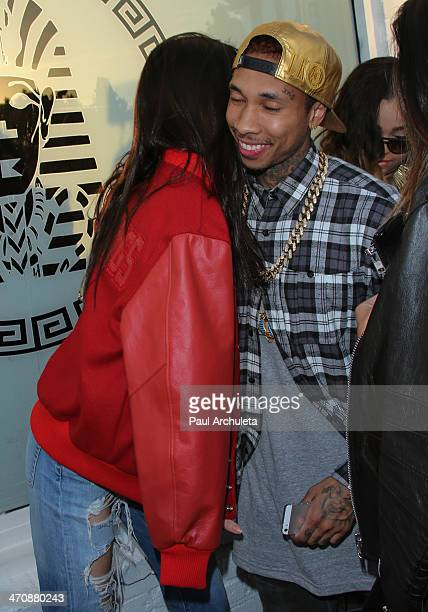 Model / Reality TV Personality Kendall Jenner and Rapper Tyga attends the press preview at his Last Kings flagship store on February 20 2014 in Los...