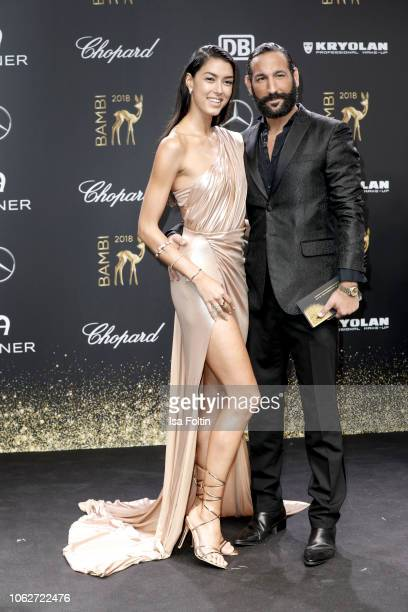 Model Rebecca Mir and her husband dancer Massimo Senato attend the 70th Bambi Awards at Stage Theater on November 16, 2018 in Berlin, Germany.