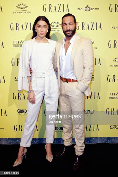 Model Rebecca Mir and her husband dancer Massimo Sinato attend the Grazia Fashion Dinner at Titanic Deluxe Hotel on January 16 2018 in Berlin Germany