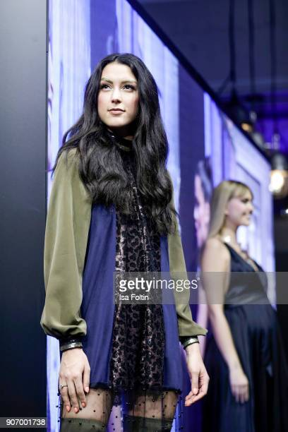 Model Rebecca Mir and model and designer Bonnie Strange walk the runway during the Maybelline Show 'Urban Catwalk Faces of New York' at Vollgutlager...
