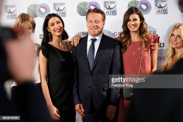 Model Rebecca Mir CEO Ralf Weber model Alisar Ailabouni and blogger Carolin Faerber attends the Gerry Weber Open Fashion Night 2017 during the Gerry...