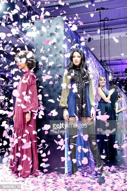 Model Rebecca Mir on the runway during the Maybelline Show 'Urban Catwalk Faces of New York' at Vollgutlager on January 18 2018 in Berlin Germany