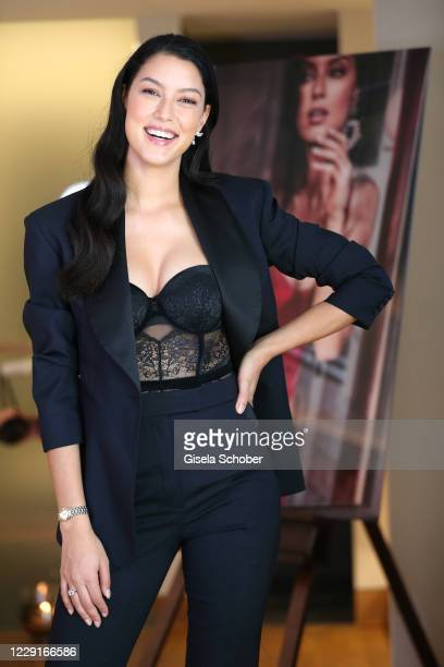 Model Rebecca Mir poses as the face of the new Hunkemoeller lingerie campaign at Hotel Beyond on October 19, 2020 in Munich, Germany.