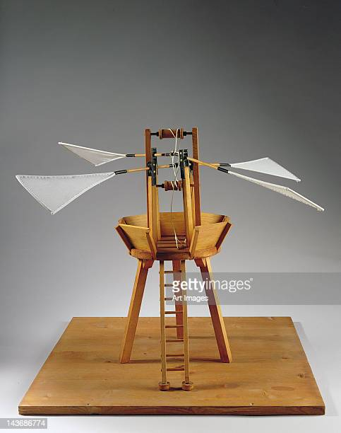 Model reconstruction of da Vinci's design for a vertical ornithopter (wood, cloth & string)