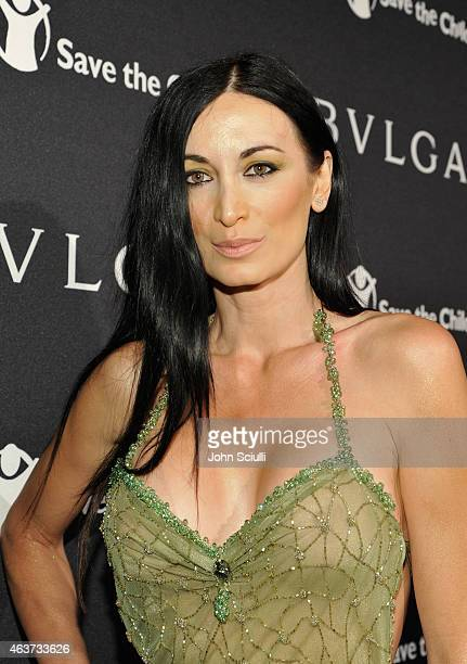 Model Regina Salpagarova attends BVLGARI and Save The Children STOP THINK GIVE PreOscar Event at Spago on February 17 2015 in Beverly Hills California