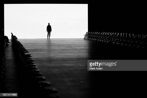 Model rehearses ahead of the Bassike Resort 2022 show during Afterpay Australian Fashion Week 2021 Resort '22 Collections at The Venue Alexandria on...
